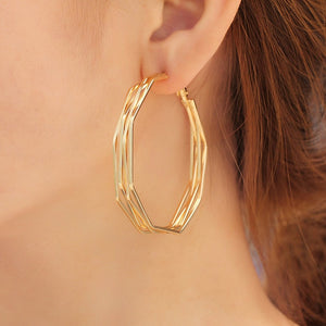 3 Pairs/Set Classic Oversize Gold Hoop Earrings