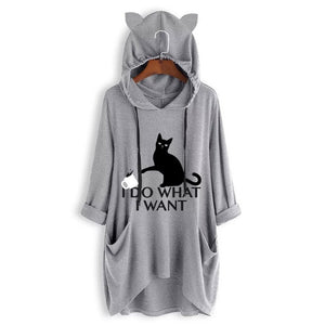 Kitty ears long hooded blouse