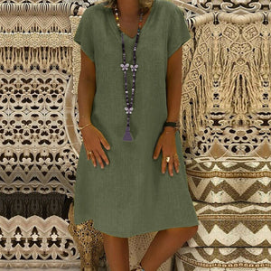 Short Sleeve Cotton Linen Dress