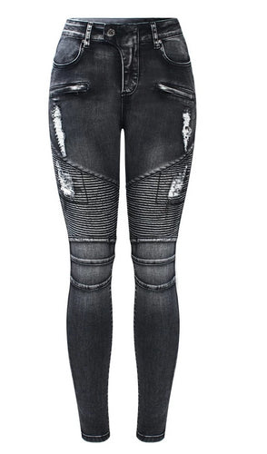 Black Motorcycle Biker Zip Jeans