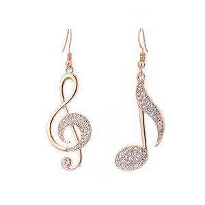 Gold Silver Music Notes Drop Earrings