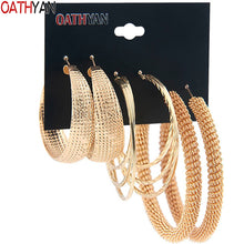 Load image into Gallery viewer, 3 Pairs/Set Classic Oversize Gold Hoop Earrings