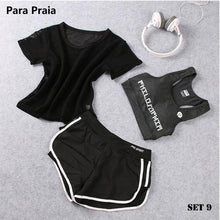Load image into Gallery viewer, High Waist Three Piece Yoga Set Sportswear