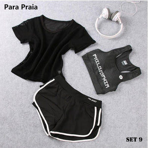 High Waist Three Piece Yoga Set Sportswear