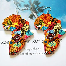 Load image into Gallery viewer, Tribal Wood Painted Africa Art Earings