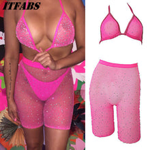 Load image into Gallery viewer, Rhinestone Bikini Set Mesh Halter Bra+Fishnet High Waist Shorts
