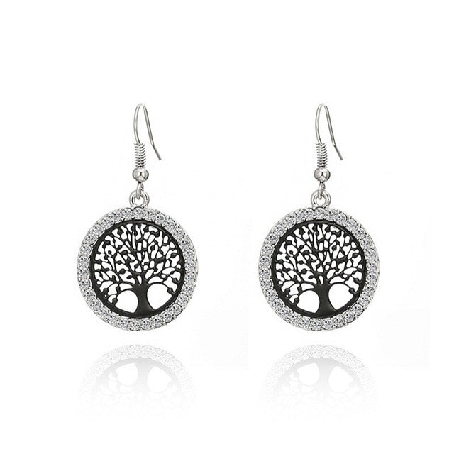 Tree of Life Pattern Round Earrings