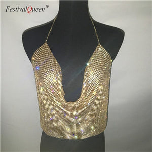 FestivalQueen Brilliant Rhinestone Backless Party Crop Top Women