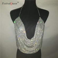 Load image into Gallery viewer, FestivalQueen Brilliant Rhinestone Backless Party Crop Top Women