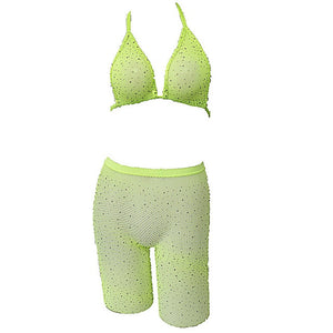 Rhinestone Bikini Set Mesh Halter Bra+Fishnet High Waist Shorts