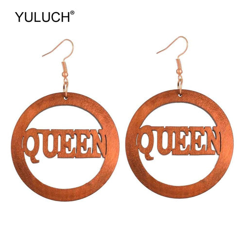 Queen wood earings