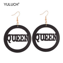 Load image into Gallery viewer, Queen wood earings