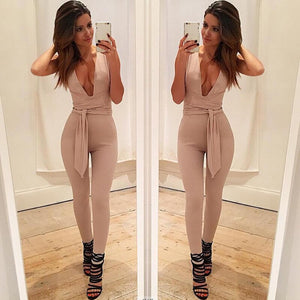 Deep Black V Fitted Sexy  Jumpsuit