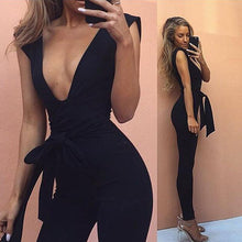 Load image into Gallery viewer, Deep Black V Fitted Sexy  Jumpsuit