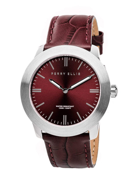 Unisex Slim Line Brown Leather Watch Brown / NS