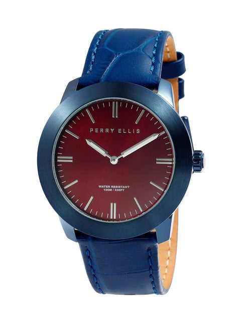 Unisex Slim Line Burgundy Leather Watch Burgundy / NS