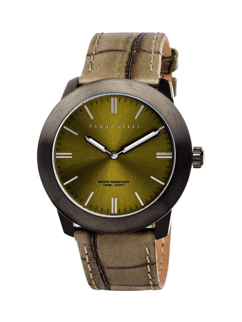 Unisex Slim Line Olive Leather Watch Olive / NS