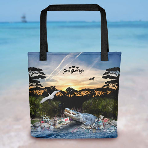 Everglades Gator tote bag, an environmentally conscious statement about plastics and other toxins. Designed by Sushila Oliphant, Save Bait Life, LLC.