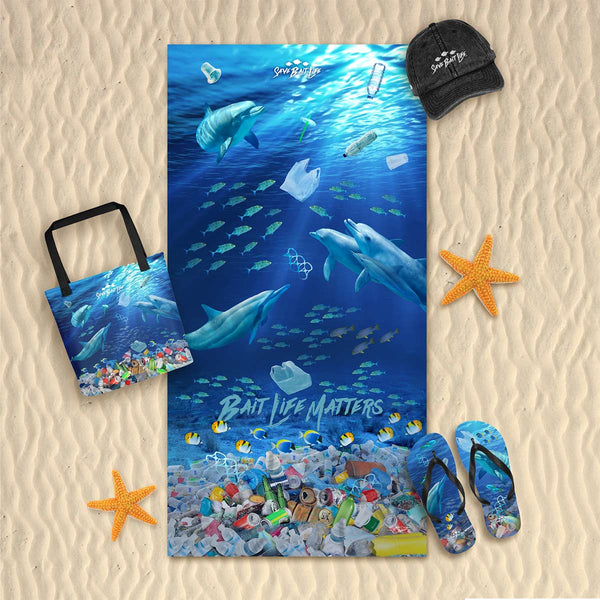 Dolphins Chasing Plastic Beach Towel