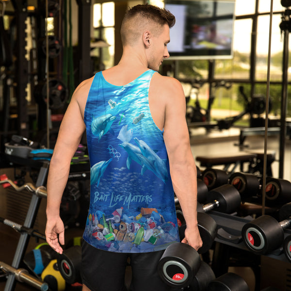 Save the Dolphins, men's tank tops helps bring awareness about plastic pollution in the ocean, designed by Sushila Oliphant at Save Bait Life..