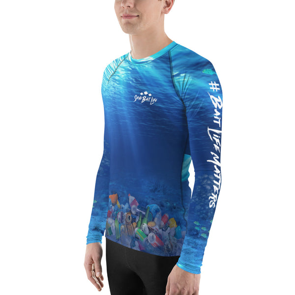 Save the dolphins, plastic in the ocean, men's rash guard, surfer t-shirt by Sushila Oliphant at Save Bait Life.