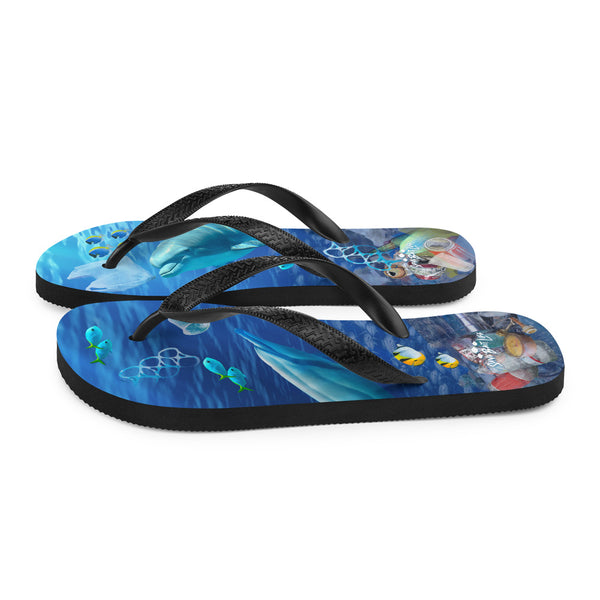 Flip-flops with a message about endangered dolphins by Sushila Oliphant of Save Bait Life.