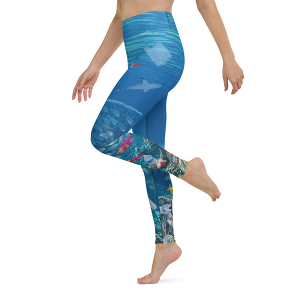 Endangered Reefs Ladies Yoga Pants help create awareness of marine ecosystems in peril. Designed by Sushila Oliphant, Save Bait Life, LLC.