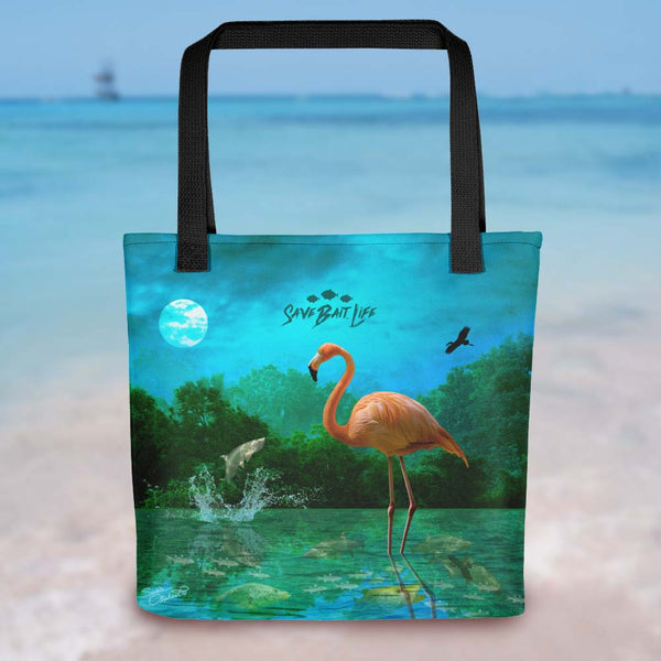Everglades Flamingo is a cool environmentally conscious tote, designed by Sushila Oliphant, Save Bait Life, LLC.