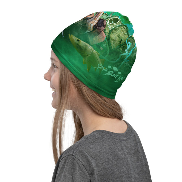 Girl wearing buff as a hat of a polluted swamp in Everglades by Sushila Oliphant of Save Bait Life, LLC.