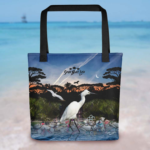Everglades Heron tote bag, an environmentally conscious statement about plastics and other toxins. Designed by Sushila Oliphant, Save Bait Life, LLC.