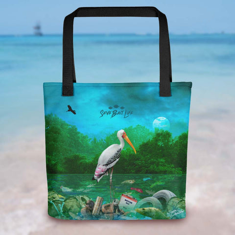 Everglades White Stork tote bag, an environmentally conscious statement about plastics and other toxins. Designed by Sushila Oliphant, Save Bait Life, LLC.