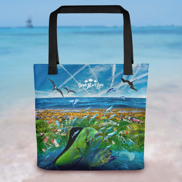 Mahi Mahi being surrounded by ocean pollution and chemtrails, too. Designed by Sushila Oliphant, Save Bait Life, LLC.