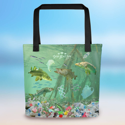 Snook in Mangroves tote bag created to bring awareness about plastic pollution in the ocean, designed by Sushila Oliphant at Save Bait Life.