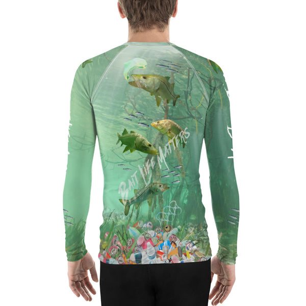 Save the Snook fish, men's surfer shirt helps bring awareness about plastic pollution in the ocean, designed by Sushila Oliphant at Save Bait Life..