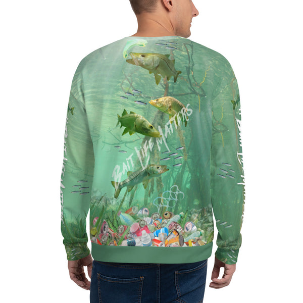 Save the Snook, unisex sweatshirt helps bring awareness about plastic pollution in the ocean, designed by Sushila Oliphant at Save Bait Life..