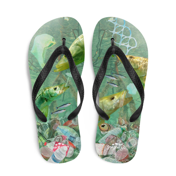 Flip-flops with a message about endangered marine life by Sushila Oliphant of Save Bait Life.