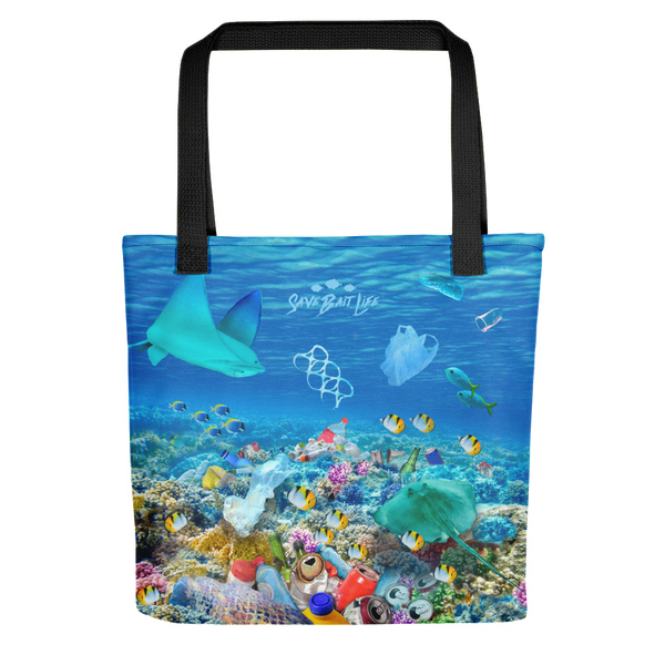 Stingrays tote bag created to bring awareness about plastic pollution in the ocean, designed by Sushila Oliphant at Save Bait Life..