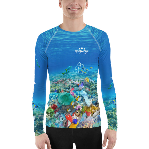 Save Stingrays men's surfer t-shirt created to bring awareness about plastic pollution in the ocean, designed by Sushila Oliphant at Save Bait Life..