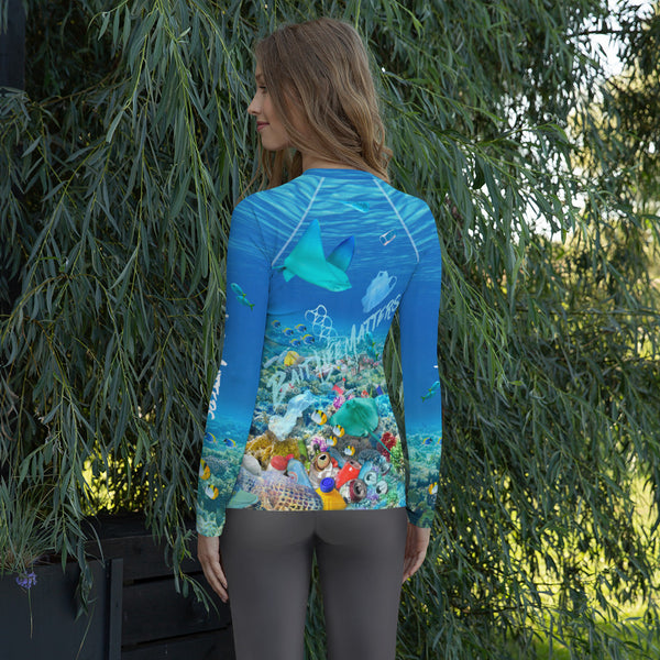 Save the Stingrays, women's surfer shirt helps bring awareness about plastic pollution in the ocean, designed by Sushila Oliphant at Save Bait Life..