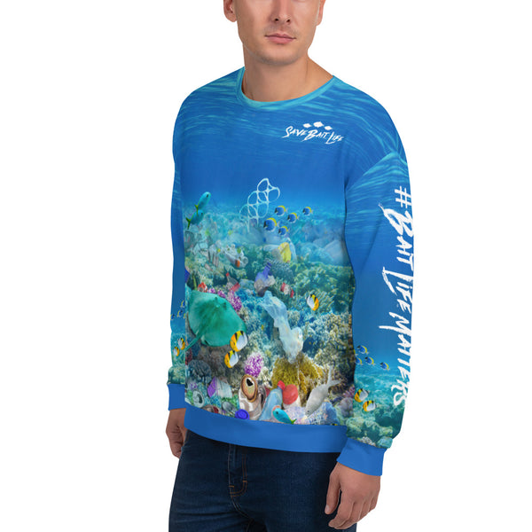 Save the Stingrays unisex sweatshirt helps bring awareness about plastic pollution in the ocean, designed by Sushila Oliphant at Save Bait Life..