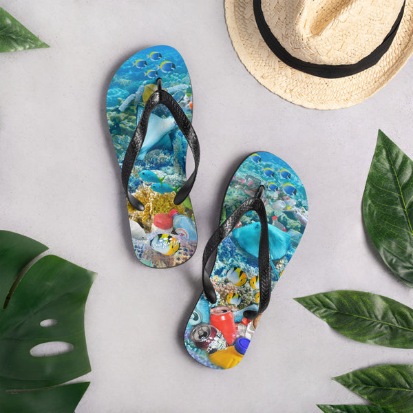 Flip-flops with a message about endangered stingrays by Sushila Oliphant of Save Bait Life.