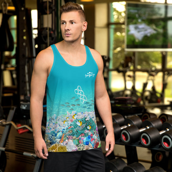 Save Sea Turtles, men's tank tops helps bring awareness about plastic pollution in the ocean, designed by Sushila Oliphant at Save Bait Life..