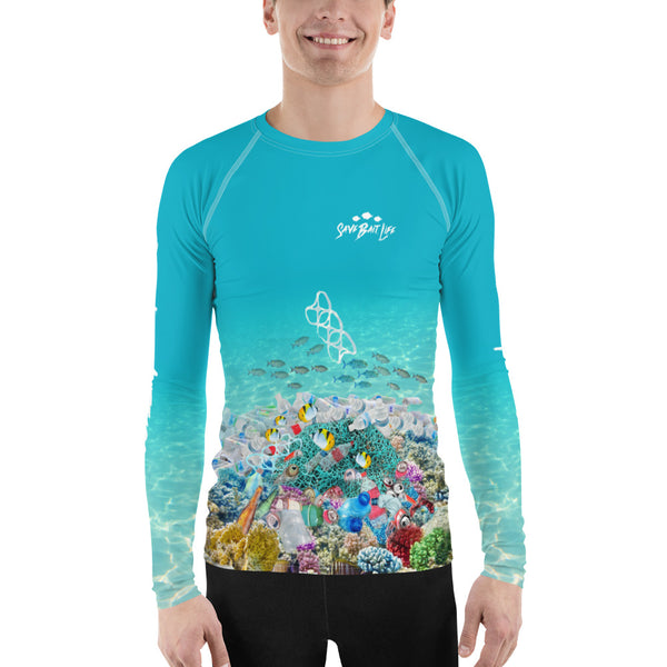 Save Sea Turtles men's surfer shirt helps bring awareness about plastic pollution in the ocean, designed by Sushila Oliphant at Save Bait Life..