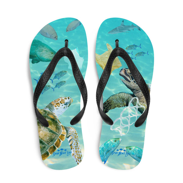 Create awareness to the plight of plastic pollution in the ocean. Flip-flops designed by Sushila Oliphant, Save Bait Life, LLC.