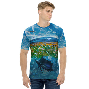 Cool t-shirt depicting mahi mahi and salifish being surrounded by ocean pollution and chemtrails, too. Designed by Sushila Oliphant, Save Bait Life, LLC.