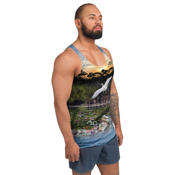 Everglades gator and wildlife men's tank top brings awareness to pollution in all of  our waters by Sushila Oliphant, Save Bait Life.