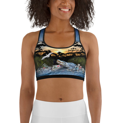Everglades gator and wildlife environmental sports bra brings awareness to pollution in all of our waters by Sushila Oliphant, Save Bait Life.