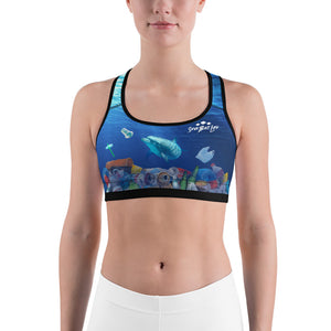 Save the Dolphins environmental sports bra helping to bring awareness about plastic pollution in the ocean, designed by Sushila Oliphant at Save Bait Life..