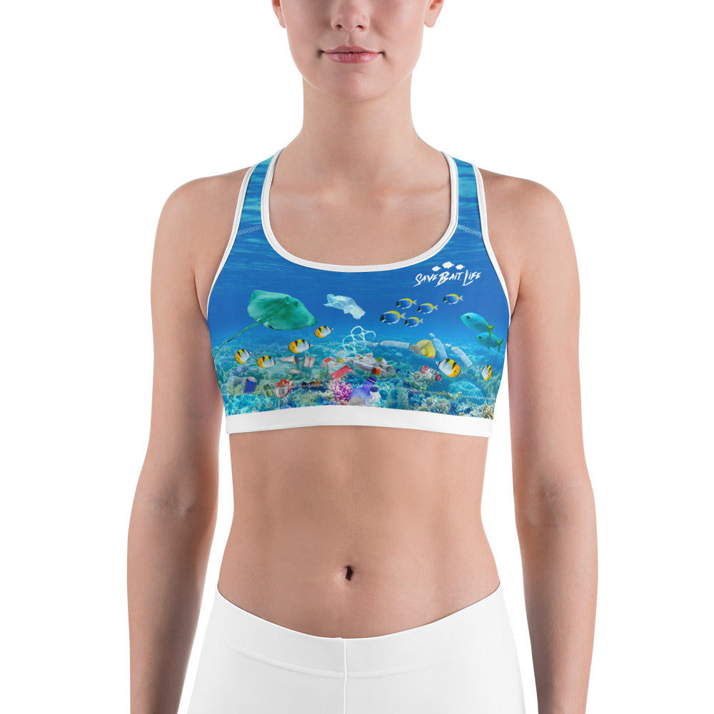 Stingrays chasing plastic in ocean environmentally conscious sports bra brings awareness to ocean pollution by Sushila Oliphant, Save Bait Life.