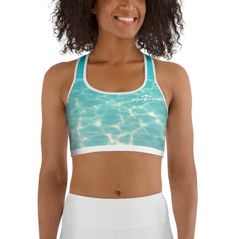 The Pristine Sea sports bra is great for yoga classes and gym workouts. Designed by Sushila Oliphant at Save Bait Life, LLC.